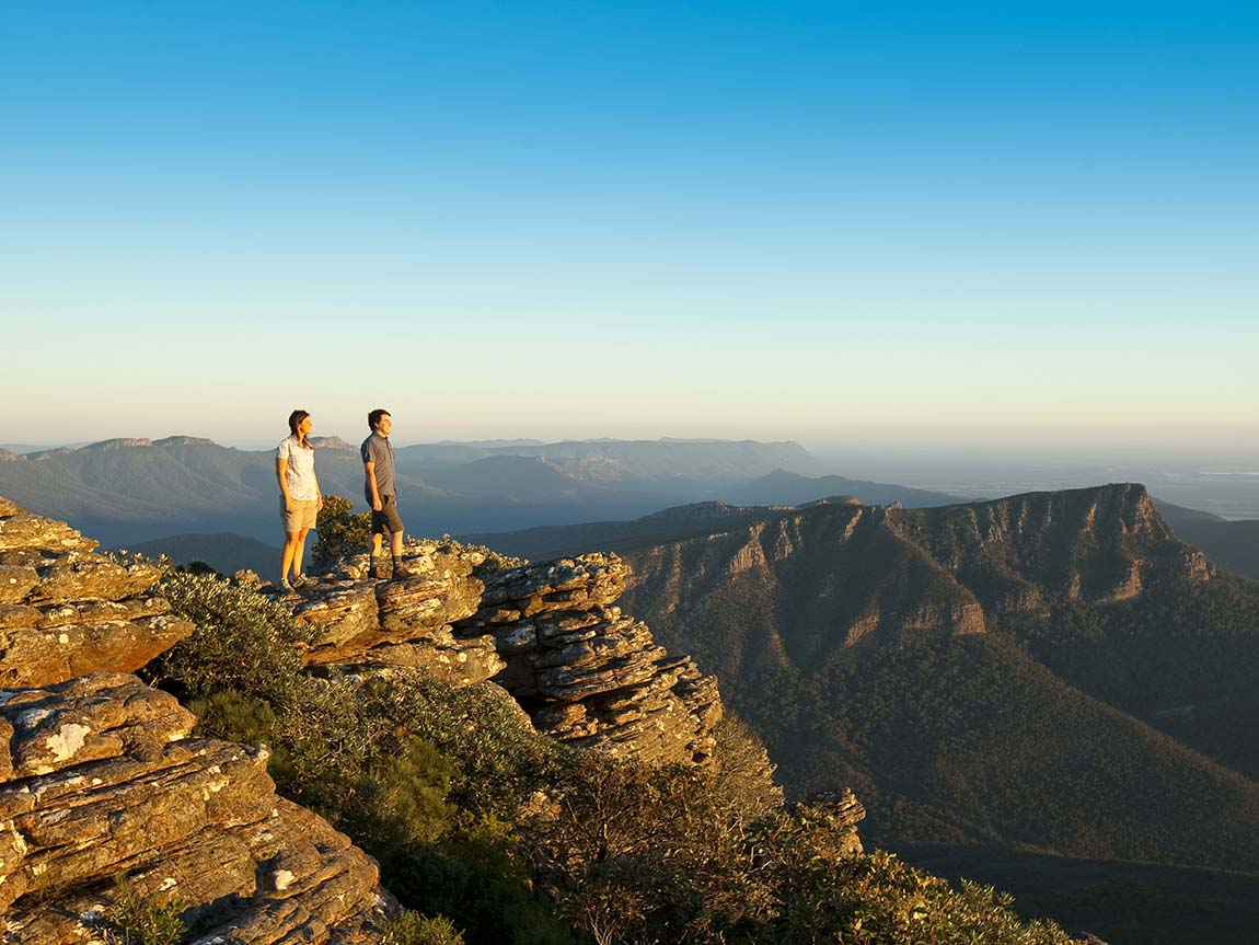 Couple standing on Mount William, Grampians, Victoria, Australia