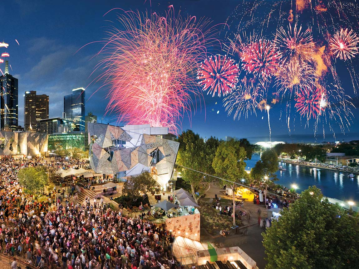 Fireworks at Federation Square, Melbourne, Victoria, Australia. Photo: John Gollings